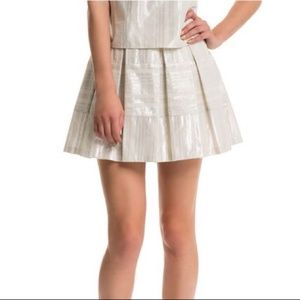 NWT 1. State Sand Metallic Pleated Skirt Medium